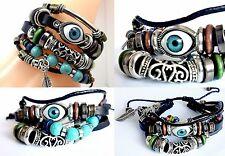 Leather bracelet Turquoise Evil eye beads adjustable unisex layered bracelet