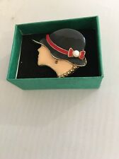 Brooch Ladies Head With 1940's Type Black Hat