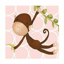 """Oopsy Daisy Hanging Monkey Stretched Art, Pink, 10 x 10"""""""