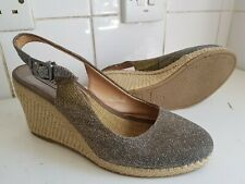 DUNE LONDON WOMEN GOLD METALLIC TEXTILE SLINGBACK ESPADRILLES WEDGE SANDALS 4 37