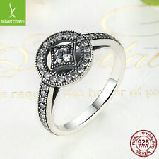 Authentic 925 Silver Vintage Allure Clear CZ Ring For Women XMAS Size 7 Ring