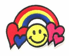 Smiley Hearts Rainbow Iron On Patch Love Peace Emoji Embroidered Applique Badge