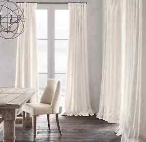 RH RESTORATION HARDWARE White Heavyweight Belgian Textured Linen Drapes 50 x 108