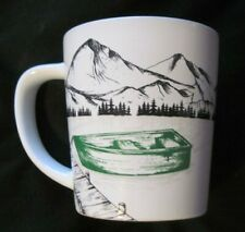 Tim Horton's Ceramic Coffee Mug Cup GREEN BOAT Lake/Mountains White EUC
