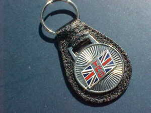 TRIUMPH TR6 BRITISH SPORTS COLLECTOR CAR LEATHER KEY FOB MINT THE BEST CHOICE!!
