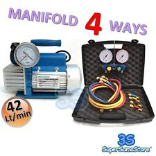 3S A/C Vacuum PUMP 1.5 CFM 2 Stages + MANIFOLD GAUGE SET 4 WAYS R410A R134A R22