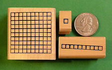 Number Grid Rubber Stamp Set of 3 - ones, tens, hundreds - wood mounted