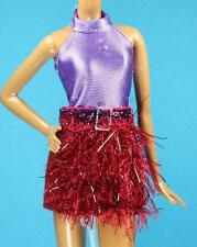 Sparkle Girlz Purple Halter Red Faux Fur Dress fits Barbie Model Muse Doll
