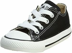 Converse Inf C/T A/S Ox Youth Black with Rubber Sole Low Top Lace Up Shoes US 10