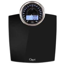 Ozeri Rev Digital Bathroom Scale w/ Electro-Mechanical Backlit Weight Dial Black