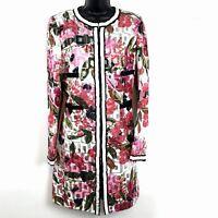 Dolce Gabbana Womens sz 48 Coat Floral metallic print zip front jacket 14 L