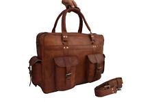 """18"""" Laptop Briefcase Messenger Bag Pilot Handbag Luggage Office Shoulder Leather"""