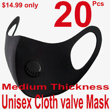 20Pcs Men Women Black Valve Face Mask Reusable Washable Clothing Covering NEW Co