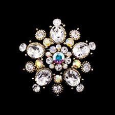 Handmade 3.5cm Swarovski Elements Vintage Gold Bridal Crystal Brooch 01E