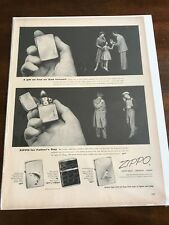 "1954 VINTAGE PRINT AD 10X14"" ZIPPO LIGHTER A FATHER'S DAY GIFT AS FINE AS DAD"