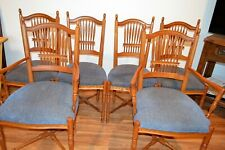 Ethan Allen Set of 6 Wheatback Dining Chairs Legacy upholstered blue seats