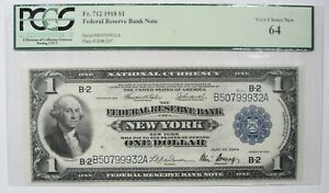 1918 $1 fr.712  Federal Reserve Note PCGS 64 Very Choice New  #101218