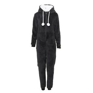 Womens Fleece 1Onesie Ladies Fluffy Hooded Bear Jumpsuit One Piece Cozy Soft