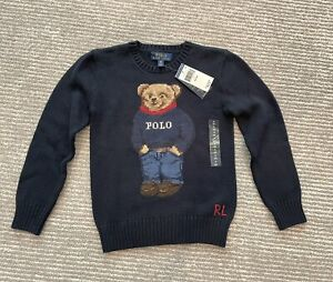 NWT Polo Ralph Lauren Bear Collection Boys Kid Cotton Sweater Navy MSRP $95