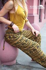 Harem Pantalones de Yoga Elefante Hippie Festival Boho Gitano amarillo mostaza Suelto cómoda