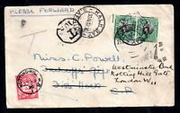 South Africa 1930 Redirected Postage Due cover to UK WS16461