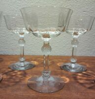 6 Vintage Champagne Coupe Glasses Crystal Sherbets Stemware Rib Optic