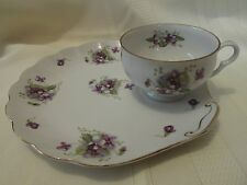 Beautiful Porcelain Cup and Plate Set Made in Japan - Violets