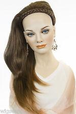 Long Medium Straight Blonde Brunette Red Wigs Braided Headband Wigs 3/4 Cap