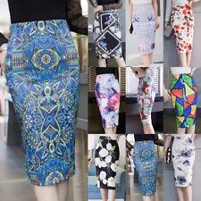 Womens Ladies Stretch Bodycon Monochrome Tribal Print Pencil Tube Midi Skirt