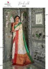 White Saree Silk Sari Indian Bollywood Wedding Women Designer Banrasi Handloom