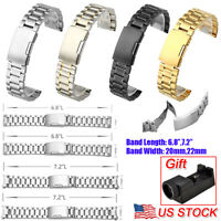 20/22mm Stainless Steel Metal Watch Strap Band Mens Wrist Buckle Strap Tools US