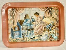 Vintage Painted Tv Tray Girl Doll House