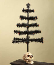 "HALLOWEEN SKULL and Black Goose Feather Ornament Tree 20"" Bethany Lowe NEW"