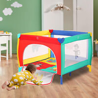 Portable Baby Playpen Foldable Baby Fence Play Yard w/ Mattress Safety Toddler