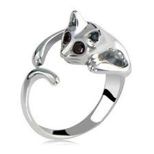 Fashion Lovely Silver Plated Kitten Cute Cat Animal Crystal Black Eye MIdi Ring