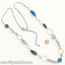 Chico's Signed Necklace Silver Tone Long Chains Pretty Turquoise and Aqua Beads