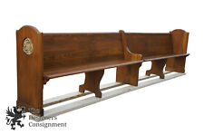 Antique Customizable Oak 12 Foot Church Pews Carved Deacon Hall Bench Reclaimed