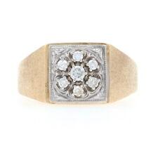 Yellow Gold Diamond Men's Cluster Halo Ring - 14k Round Brilliant .20ctw Wedding