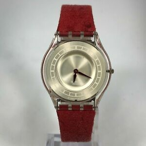Authentic SWATCH VINTAGE 1999 AG Silver Skin Ultra Thin Watch Red Leather Strap