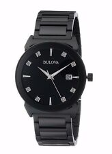 Bulova Men's 98D121 Diamond Collection Quartz Black Stainless Steel Watch