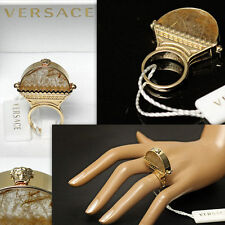 GIANNI VERSACE Ladies RUTILATED MEDUSA RING w/ Box & Tag (9)