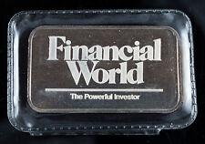 JOHNSON MATTHEY FINANCIAL WORLD 1 OZ .999 SILVER ART BAR SEALED - RARE