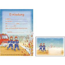 12 Einladungen 12 Umschläge Feuerwehr Döll Kindergeburtstag Feuerwehrparty Party