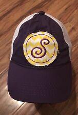 "Rare ""S"" Mesh Back Snapback Hat Trucker Ball Cap, Baseball Purple Golf Tennis Vg"