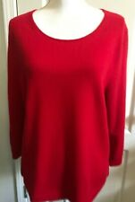 TALBOTS Womens CASHMERE Sweater Scoop Neck RED 3/4 Sleeves Size XL