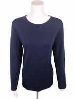 Isaac Mizrahi Essentials Pima Cotton Crew Neck Knit Top Dark Navy Large Size