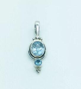Solid Silver 925 Vintage Style Blue Topaz Pendant