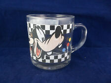 Disney Anchor Hocking Goofy Expressions Clear Checkerboard Glass Mug