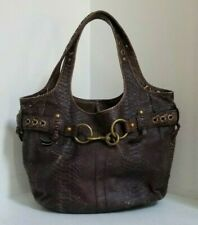 COACH (11324) PYTHON EMBOSSED BROWN DISTRESSED LEATHER LARGE ERGO TOTE