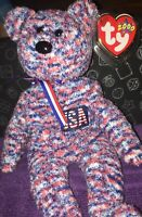 Ty Beanie Babies - USA Bear - 4th Of July With Tag Protector- 2000 -Retired Rare